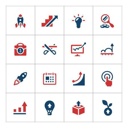 Stel kleurenpictogrammen van start-up op wit geïsoleerd Stock Illustratie