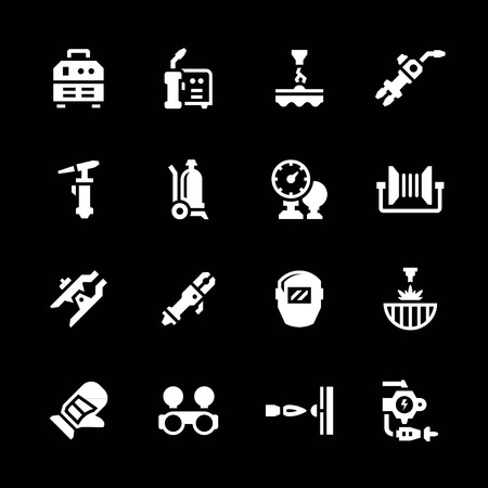 welding worker: Set icons of welding isolated on black