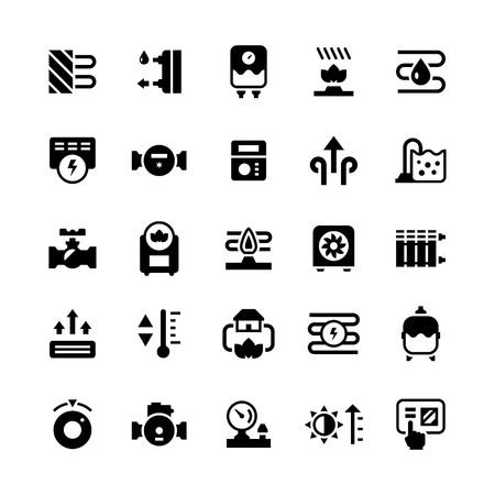 Set iconen van verwarming op wit wordt geïsoleerd