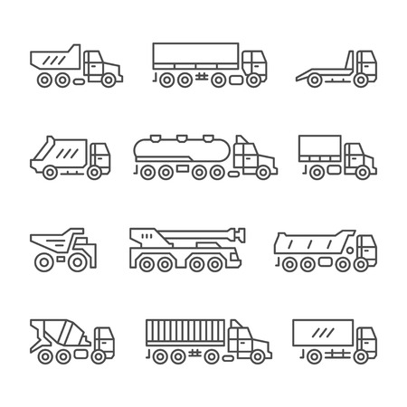 tipper: Set line icons of trucks isolated on white