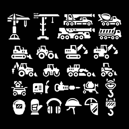 heavy equipment: Set icons of construction equipment isolated on black Illustration