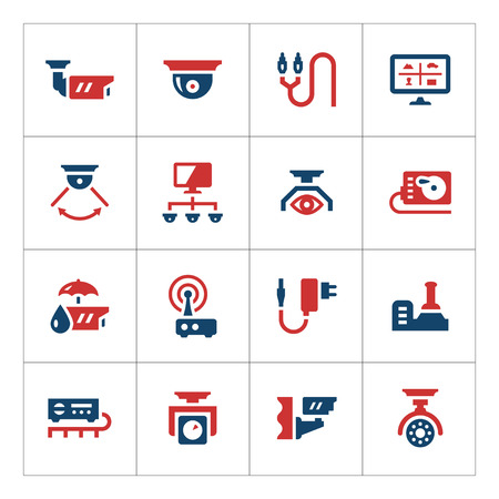 video icons: Set color icons of video surveillance isolated on white Illustration