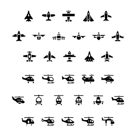 military helicopter: Set icons of planes and helicopters isolated on white
