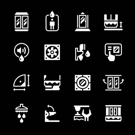 cabine de douche: Set icônes de cabine de douche isolé sur noir