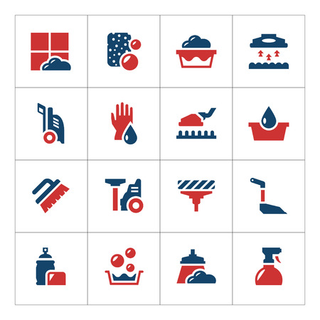 servicio domestico: Set color icons of cleaning isolated on white. Vector illustration
