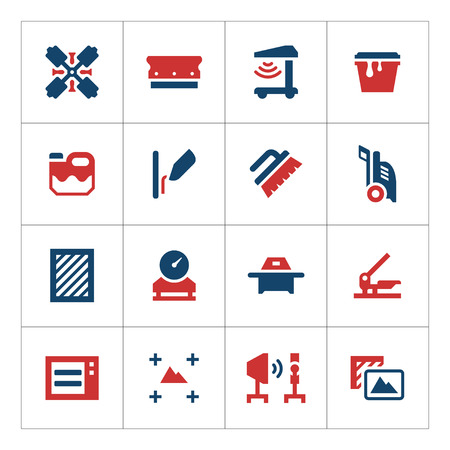 marking: Set color icons of screen printing isolated on white. Vector illustration