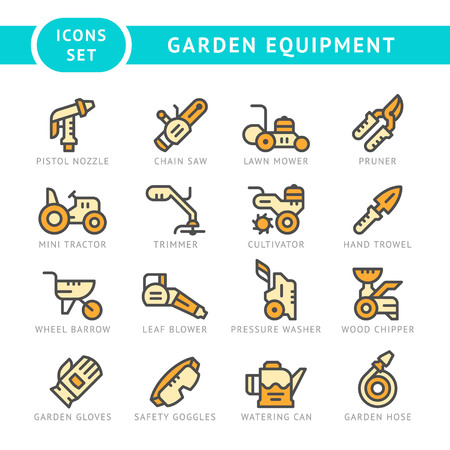 cultivator: Set line icons of garden equipment isolated on white