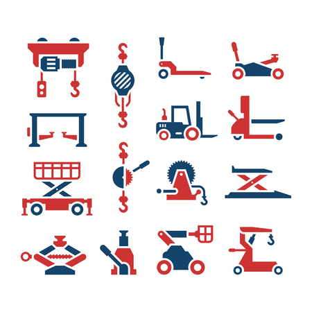 Set color icons of lifting equipment isolated on white. Vector illustration