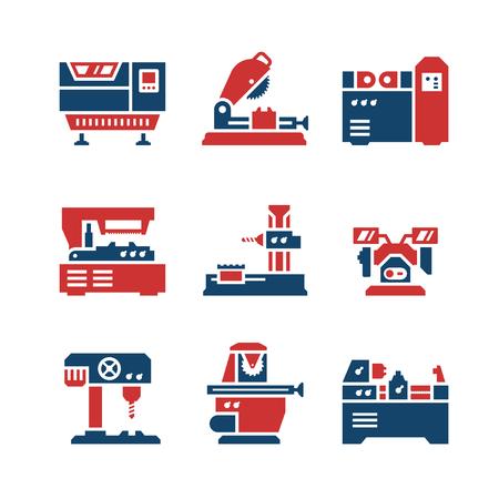 Ingestelde kleur iconen van de machine tool geïsoleerd op wit. vector illustratie Stock Illustratie