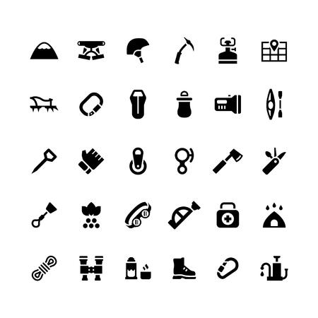 Set iconen van kamperen en bergbeklimmen op wit wordt geïsoleerd. vector illustratie