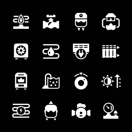 bomba de agua: Fije los iconos de calefacción aislados en negro. ilustración vectorial