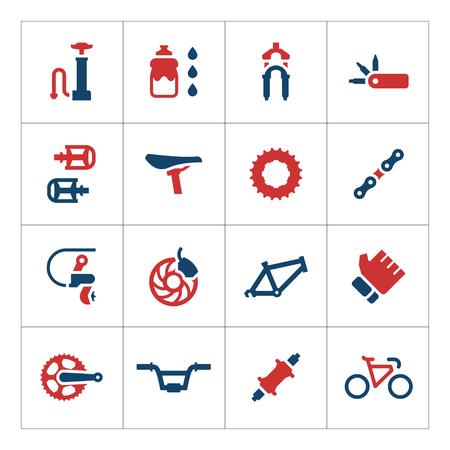 Ingestelde kleur iconen van fietsonderdelen en accessoires geïsoleerd op wit. vector illustratie