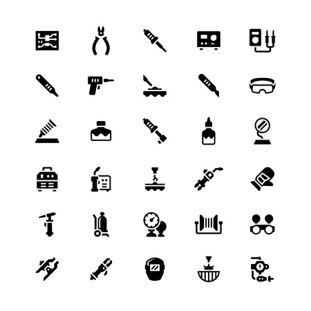 soldering: Set icons of welding and soldering isolated on white. Vector illustration