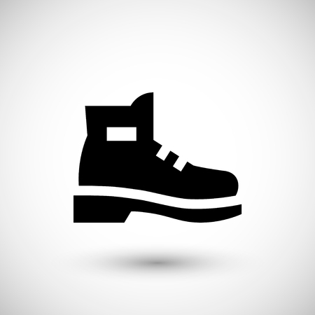 hiking boots: Industrial boot icon isolated on grey. Vector illustration