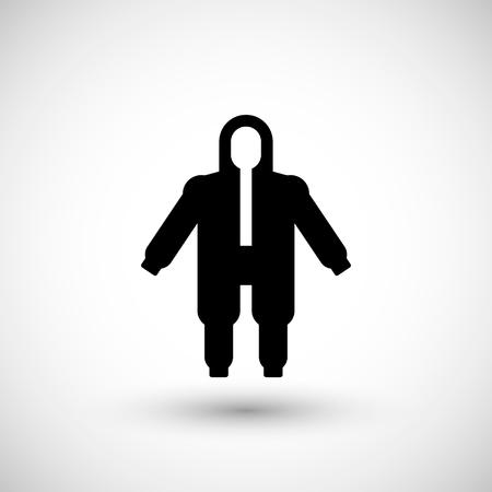 overol: guardapolvos de protecci�n de seguridad icono aislado en gris. ilustraci�n vectorial