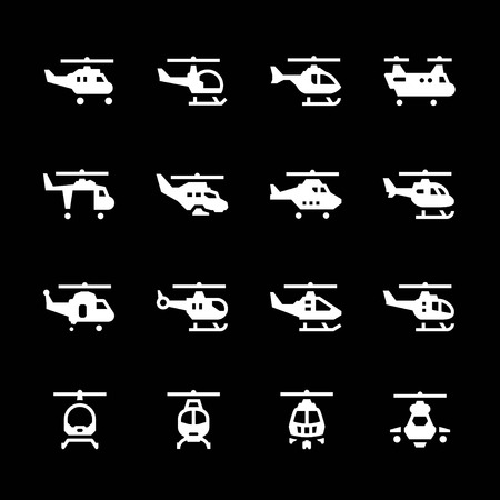 helicopter rescue: Set icons of helicopters isolated on black. Vector illustration