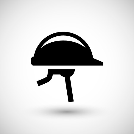 personal protective equipment: Helmet icon isolated on grey. Vector illustration