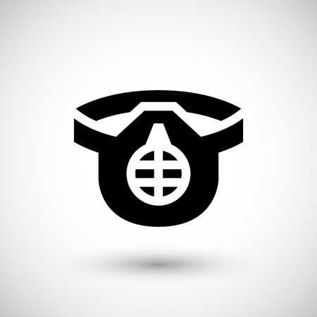 respirator: Protective respirator icon isolated on grey. Vector illustration