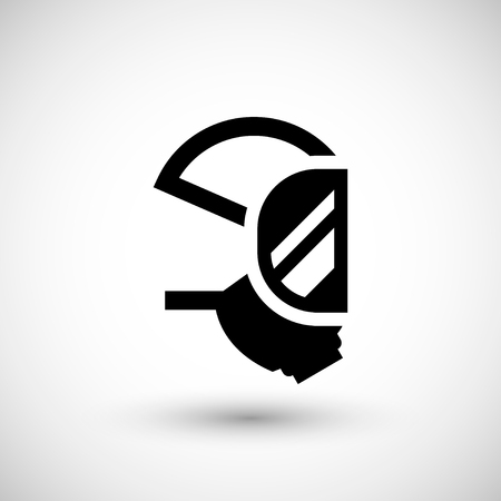 respirator: Respirator mask icon isolated on grey. Vector illustration