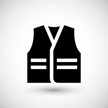 worker working: Working vest icon isolated on grey. Vector illustration
