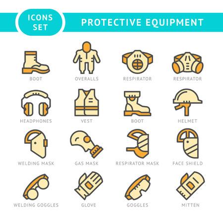 elementos de protección personal: Fije los iconos de la línea de equipos de protección aislados en blanco. ilustración vectorial Vectores