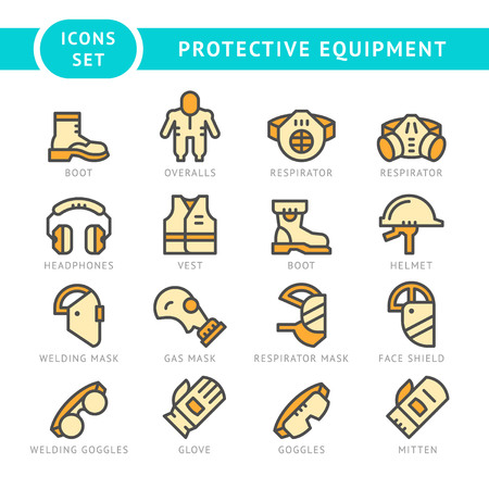 personal protective equipment: Set line icons of protecting equipment isolated on white. Vector illustration