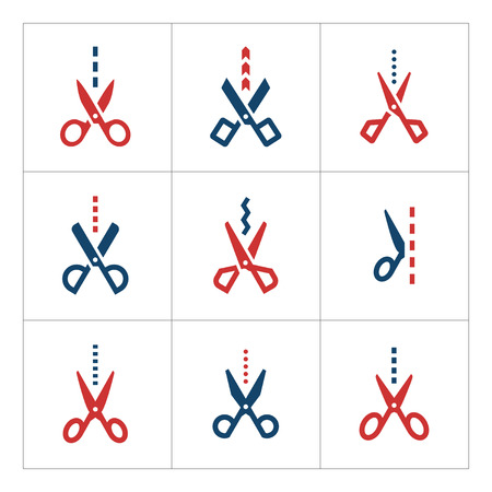 cut line: Set color icons of scissors with cut line isolated on white. Vector illustration Illustration