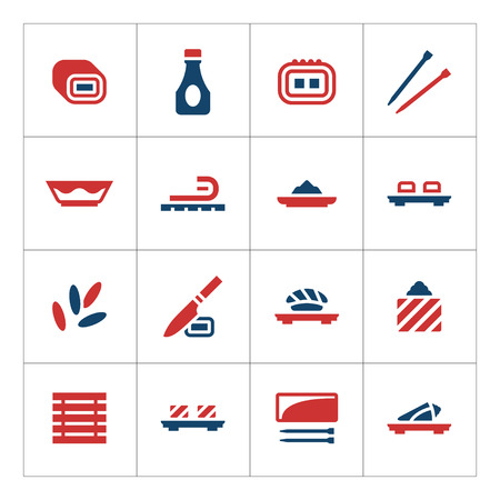 Set color icons of sushi isolated on white. Vector illustration Illustration