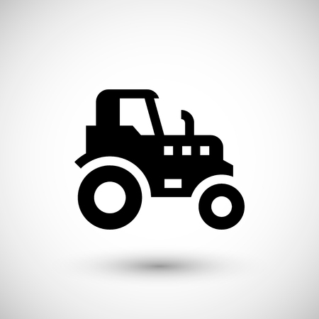agricultural: Agricultural tractor icon isolated on grey. Vector illustration
