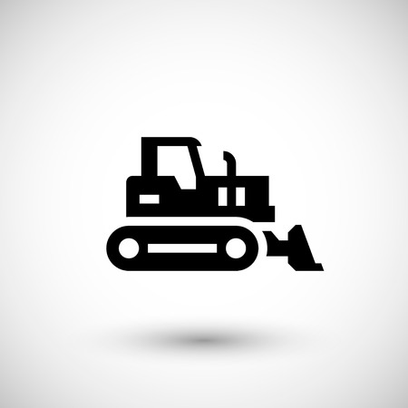 dozer: Crawler bulldozer icon isolated on grey. Vector illustration