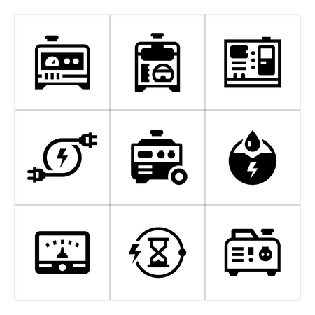 Set icons of electrical generator isolated on white. Vector illustration Illustration