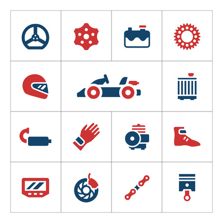 karting: Set color icons of karting isolated on white. Vector illustration