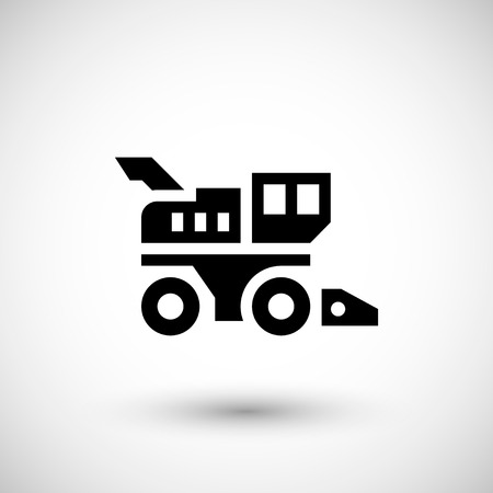 agrarian: Combine harvester icon isolated on grey. Vector illustration Illustration