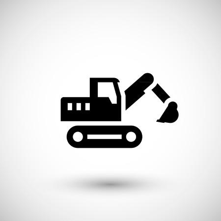 crawler tractor: Crawler excavator icon isolated on grey. Vector illustration