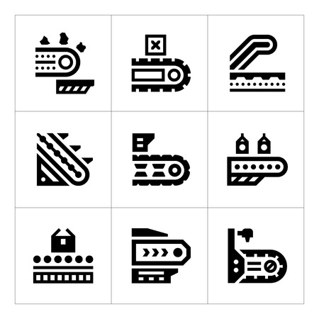 Set icons of conveyor isolated on white. Vector illustration Illustration