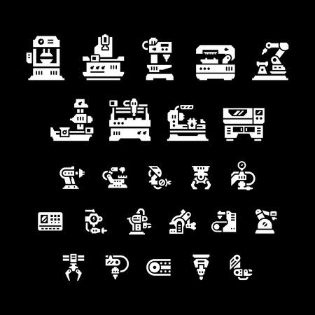 machine tool: Set icons of machine tool, robotic industry isolated on black. Vector illustration Illustration