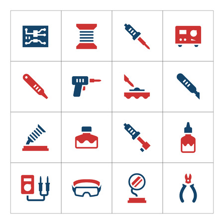 tester: Set color icons of soldering isolated on white. Vector illustration