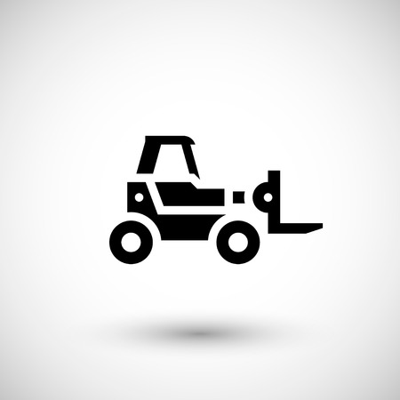 front raise: Forklift telescopic loader icon isolated on grey. Vector illustration Illustration