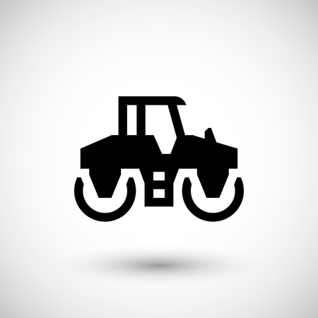 paving: Road roller icon isolated on grey. Vector illustration