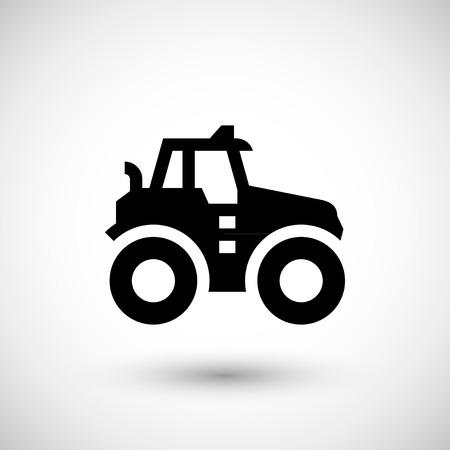icona trattore agricolo isolato su grigio. illustrazione di vettore