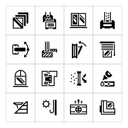 architecture design: Set icons of modern window isolated on white. Vector illustration