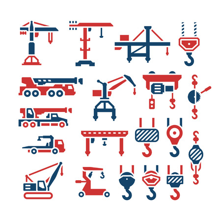 hoist: Set color icons of crane, lifts, winches and hooks isolated on white. Vector illustration Illustration