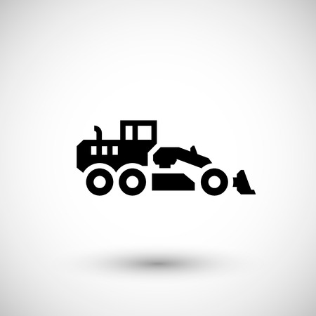 industrial vehicle: Road grader icon isolated on grey. Vector illustration Illustration