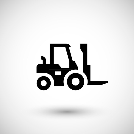 to unload: Forklift loader icon isolated on grey. Vector illustration