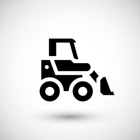 front loader: Mini icono de motor de la tierra aislado en gris. ilustración vectorial Vectores