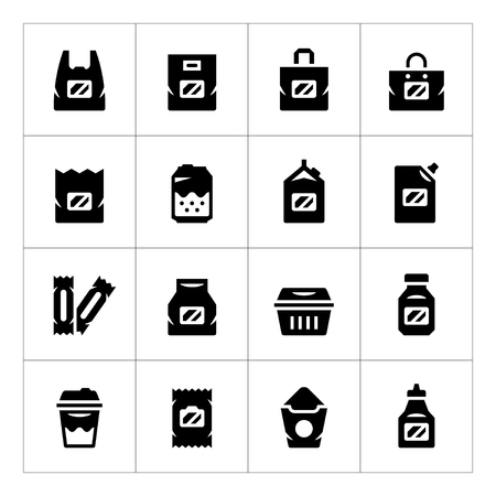 paper bag: Set icons of package isolated on white. Vector illustration