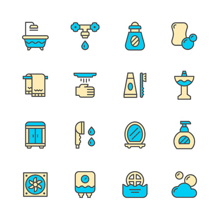 white bathroom: Set color line icons of bathroom isolated on white. Vector illustration Illustration