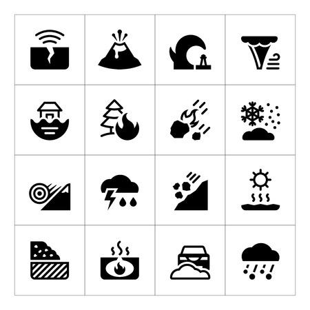 Fije los iconos de los desastres naturales aislados en blanco. ilustración vectorial
