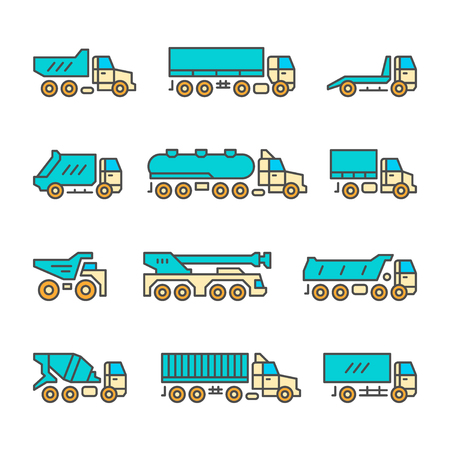 heavy construction: Set color line icons of trucks isolated on white. Vector illustration
