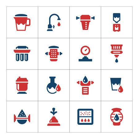 caños de agua: Establecer los iconos de color de los filtros de agua aislados en blanco. ilustración vectorial
